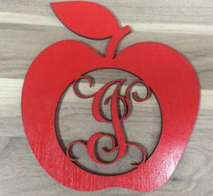 Door Hanger Teacher Name Unfinished Wood Laser Cut Apple with Name /& Initial
