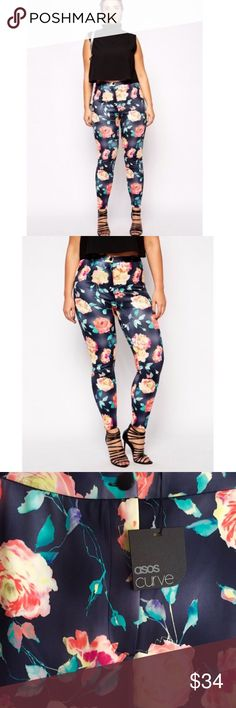 """Asos Curve Scuba Floral Print Trouser Pant Sz 14 Super silky sexy skinny fit high-waisted pants by Asos Curve size US 14. 30"""" inseam with front zip and button closure and back pockets. Purchased and never wore. My loss your gain. ASOS Curve Pants Skinny"""