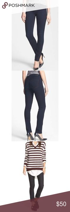 Paige skyline skinny in Mona Inky indigo denim sculpts these ultra-svelte skinny jeans minimally styled with a dash of contrast topstitching and glinting silvertone hardware.  Using the latest in performance-fiber technology, TRANSCEND denim redefines luxury, recovery and comfort with a fabrication that provides a flawless fit without stretching out.  Like new. I wore once then washed. They're my wrong size PAIGE Jeans Skinny