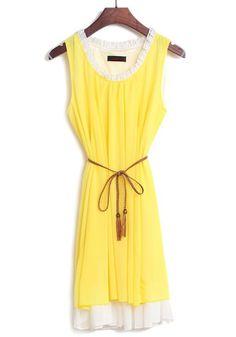 Yellow Patchwork Double-deck Falbala Belt Sleeveless Chiffon Dress