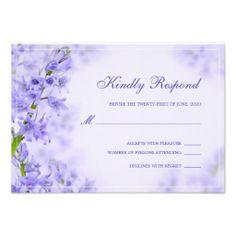 Purple RSVP, Floral Wedding RSVP Card #Wedding #FloralWedding #Purple