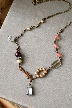 Margot.vintage glass beaded,rhinestone drop ,pearl necklace. Tiedupmemories