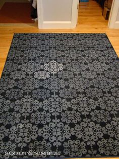 Buy an inexpensive, low pile carpet rug and acrylic paint. Add a little fabric softner (acts as a paint conditioner) and thin paint with water. Free hand or stencil a design on your rug. Outside rug idea? Rugs On Carpet, Carpets, Stencil Rug, Stencils, Stencil Painting, Painting Tips, Carpet Remnants, Low Pile Carpet, Stencil