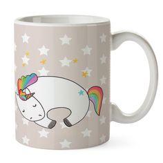 Tasse Einhorn Nacht aus Keramik  Weiß - Das Original von Mr. & Mrs. Panda.  Eine wunderschöne spülmaschinenfeste Keramiktasse (bis zu 2000 Waschgänge!!!) aus dem Hause Mr. & Mrs. Panda, liebevoll verziert mit handentworfenen Sprüchen, Motiven und Zeichnungen. Unsere Tassen sind immer ein besonders liebevolles und einzigartiges Geschenk. Jede Tasse wird von Mrs. Panda entworfen und in liebevoller Arbeit in unserer Manufaktur in Norddeutschland gefertigt.     Über unser Motiv Einhorn Nacht…