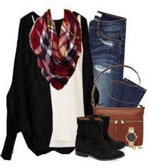 Distressed jeans, black sweater cardigan & blanket scarf