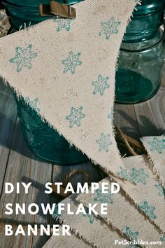 Holiday and Winter Decor:  Easy to make snowflake banner with canvas pennants, a snowflake stamp, Sparkle Mod Podge and frayed edges. A vintage fabric look for farmhouse decor! Handmade Christmas, Christmas Diy, True Meaning Of Christmas, Diy Banner, Winter Holidays, Snowflakes, Farmhouse Decor, Diy And Crafts, Craft Projects