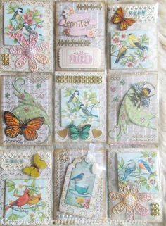 More birds and butterflies plus a bee. More birds and butterflies plus a bee. More birds and butterflies plus a bee. Atc Cards, Card Tags, Journal Cards, Junk Journal, Pocket Pal, Pocket Cards, Inchies, Pocket Envelopes, Shabby Chic
