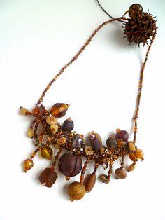 Twayblade, free form peyote wearable art necklace by Cesart64