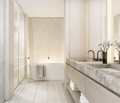 Master ensuite in our Caulfield Residences' - natural materials combine with polished plaster, soft curves, refined metal detailing,… Bathroom Design Luxury, Home Interior Design, Interior Styling, Interior And Exterior, Adobe Photoshop, Lightroom, Minimal Bathroom, Modern Bathroom, Polished Plaster