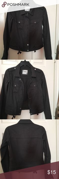 "Dark Grey ""jean"" Jacket Cute dark grey jacket. Looks great on top and to accessorize Mudd Jackets & Coats Jean Jackets"