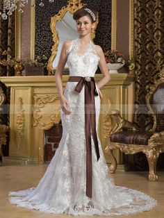 Lace Halter Mermaid Wedding Dress with Beading and Contrasting Sash