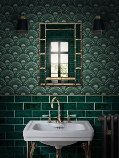 The glamour of art deco style is back in vogue, but how do you infuse your sanctuary with the same elegance and sophistication that this aesthetic is known for? Take a look at these seven art deco bathroom ideas for timeless inspiration. Art Deco Bathroom, Bathroom Tile Designs, Modern Bathroom Design, Bathroom Colors, Modern Interior Design, Home Design, Green Bathrooms, Key Design, Small Bathrooms