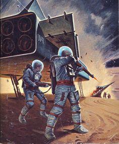 Darrell K. Sweet - Rocket ship Galileo, / The Science Fiction Gallery Science Fiction Art, Retro Futuristic, Science Fiction Artwork, Retro Art, Pulp Fiction, Sci Fi Fantasy, Art, Futuristic Art, Dieselpunk