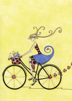 Limited Edition Illustration Free to Be by christahoward on Etsy Bicycle Illustration, Cute Illustration, Bicycle Art, Bicycle Drawing, Illustrations, Photo Art, Wall Art Prints, Sketches, Drawings