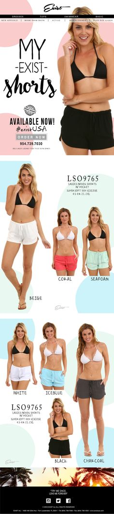 Ladies shorts collection #existUSA go to http://facebook.com/ExistINC  and like us! #beachshorts #ladiesshorts