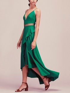 Green Cut Out Frill Assymetric Hem Spaghetti Strap Dress | Irisie