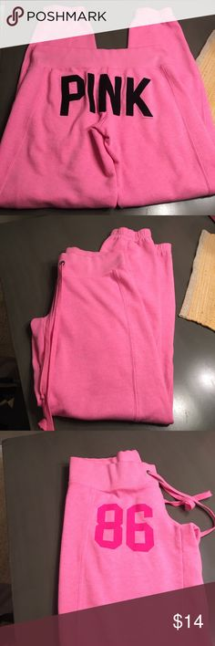 Pink pink brand sweats size xs in great shape Pink pink brand sweats with pink in black on butt in great shape. No holes rips or stains smoke free home. PINK Victoria's Secret Pants Track Pants & Joggers