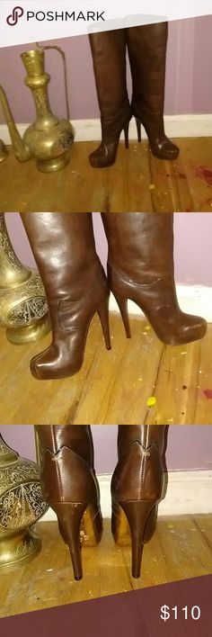 Donna Karen Boots Donna Karen, Gorgeous leather brown boots! Size 37.  7 in US. Look at picture for slight flaws still overall wearable and still have lot of life. Make an offer if interested. Heels 5 and half inches. Donna Karen  Shoes Heeled Boots