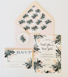 OMG THESE are the most gorgeous invitations! I am dying .//. Custom Hand Painted Wedding Invitation Suite/Set of 25 Posey Floral Peach and Mint Etsy