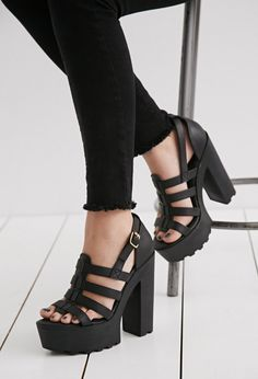 N.Y.L.A. Caged Faux Leather Platform | Forever 21 | #stepitup - Black Platform Fisherman Sandals