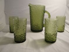Vintage Green Avocado Soreno Pitcher and 4 glasses