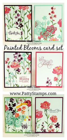 Create 6 quick and easy cards with Painted Blooms printed paper and folded cardstock. by Patty Bennett #stampinup #handmadecards