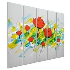 Pure Art Dance of Tulips - Contemporary Flower Metal Wall Art - Red