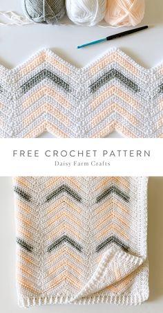Chevron Crochet Patterns, Crochet Throw Pattern, Baby Blanket Crochet, Crochet Motif, Crochet Designs, Crochet Stitches, Free Crochet, Kids Crochet, Crochet Daisy