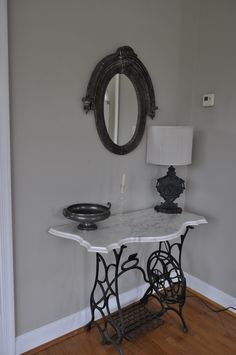 Console - marble top bought on ebay and found base from the sewing machine