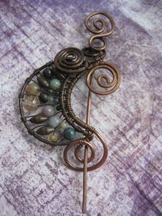 MADE to ORDER Crescent Moon Wire Wrapped Brooch - - Whimsical Mystical  Dark - Earthy Tones Shawl Pin Scarf Pin - Rustic Copper Wire Brooch. $35.00, via Etsy.