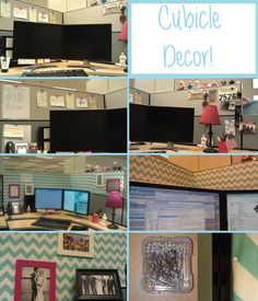 I may have to do this at work lol. Cubicle Decor: Before and After