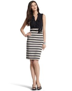 Striped shift dress from White House Black Market... I used this as inspiration for n outfit with a flower belt, black top and flowered skirt instead of stripes.