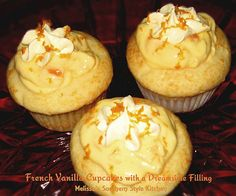 French Vanilla Cupcakes with a Dreamsicle Filling Recipe Desserts with french vanilla cake mix, vani Single Serve Desserts, Just Desserts, Delicious Desserts, Yummy Snacks, French Vanilla Cupcakes, Vanilla Cake Mixes, Cupcake Recipes, Cupcake Cakes, Dessert Recipes