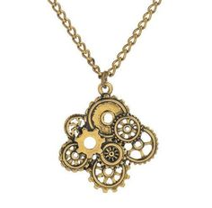 Brass Steampunk Cogs/Gears Necklace Item Type: Necklaces Pendant Size: 3.4*3.5CM Style: Trendy Necklace Type: Pendant Necklaces Gender: Women Material: Metal Chain Type: Figaro Chain Length: 56cm Meta
