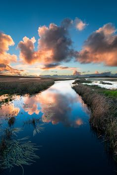 Sunset over Merri River, Victoria, Australia.