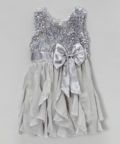 Look at this #zulilyfind! Gray Petal Ruffle Dress - Infant, Toddler & Girls by Blossom Couture #zulilyfinds