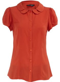 orange scallop collar blouse via Dorothy Perkins - super feminine, LOVE this color