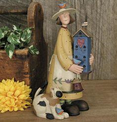 Lady holding Birdhouse with Cat Figurine - Everyday Folk Art Figurines & Collectibles – Williraye Studio $40.00