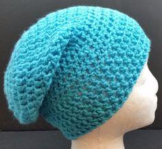 Blue Beanie Hat Baggy Slouchy Winter Ski  Skull Cap Hipster Hand Made USA #Handmade #Beanie