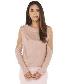 Pink Long Sleeve Contrast Mesh Yoke Sweater 29.99