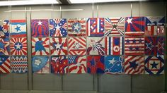 American Flag Redesign Middle School Art Projects, Art School, 3rd Grade Art Lesson, American Flag Art, Collaborative Art Projects, Art Lessons Elementary, Art Lesson Plans, Art Classroom, Art Plastique