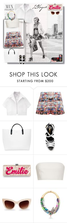 """""""Emilie"""" by selmendonca ❤ liked on Polyvore featuring Libertine, Carven, Mary Katrantzou, Smythson, Rupert Sanderson, Edie Parker, Katie Ermilio, Pared, Shourouk and NARS Cosmetics"""