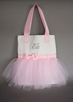 adorable for any ballerina...love the simplicity of it...Tutu bag tote with printed name by CozySophia on Etsy, $20.00