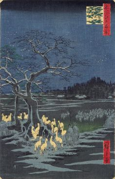 """This is a """"Nishiki-e"""", or multi-colored woodblock print, entitled """"Oji Shozoku Enoki O-misoka no Kitsune-bi"""" (""""New Year's Eve Foxfires at the Garment Nettle Tree, Oji"""") by Ando Hiroshige.     This scene in this print is based on a local folk tale. The tale says that all foxes in the Kanto region gathered by the garment nettle tree at Oji Inari shrine in Tokyo on New Year's Eve to receive special titles from the deity."""