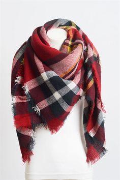 Seasons Favorite Blanket Scarf- Red/Navy