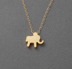 Tiny Gold Elephant Necklace. $22.00, via Etsy.