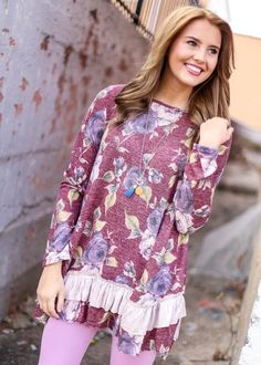 Burgundy Floral Tunic, $36.99, Free Shipping | pink, maroon, faded, dark pink, mauve, purple, lavender, blue, florals, ruffle, ruffles, dress, dresses, tunic, tunics, shirt, shirts, top, tops, blouse, blouses, sweater, sweaters, sweatshirt, sweatshirts, cute, adorable, perfect, soft, comfortable, 2016, fashion, style, blogger, blog, boutique, new, shop, boutiques, kentucky, ky