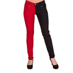 Banned Night After Night Skinny Jeans (Black/ Red)