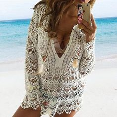 Women Cover Up Women Bathing Suit Lace Crochet Bikini Cover Up Swimwear Summer Beach Dress
