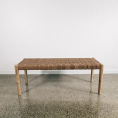 Tan Leather Weave Bench (M) - Corcovado